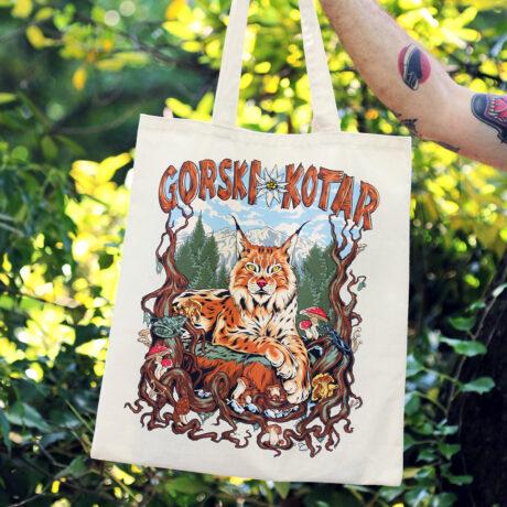 Platnena torba Gorski kotar gljive torba izlet soping reklama